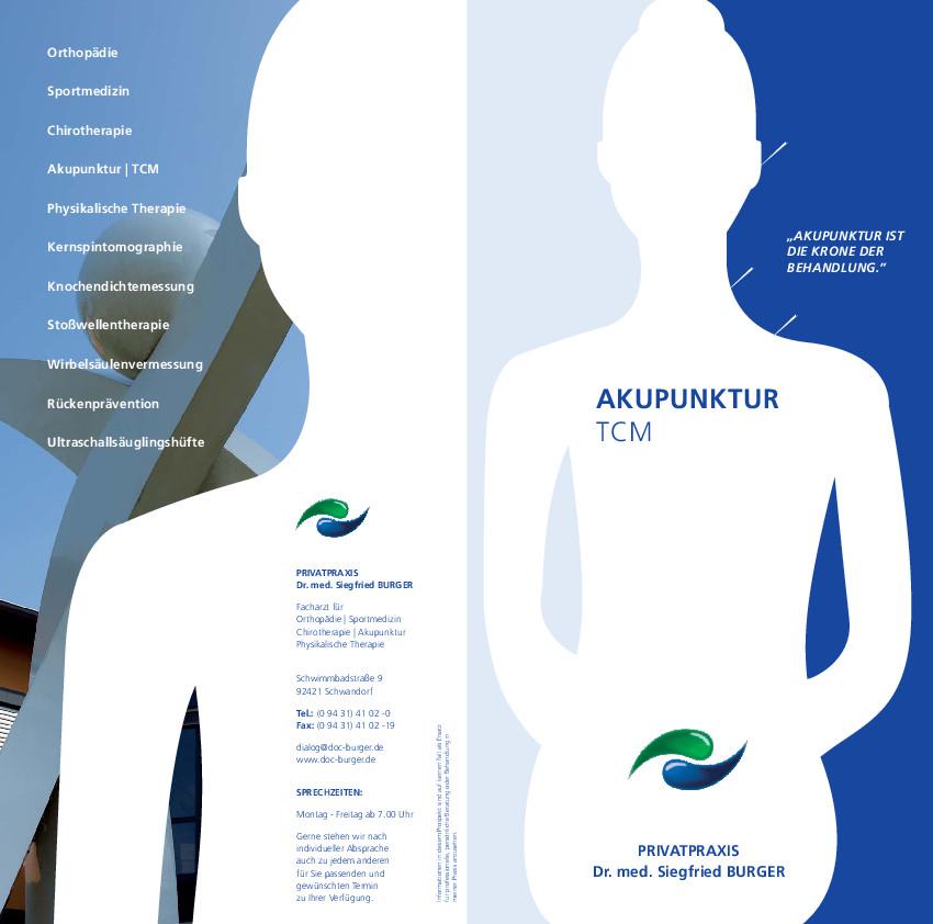 Flyer Akupunktur. Akupunktur nimmt den Schmerz. Sie ist eine der faszinierendsten Heilmethoden, die menschliche Weisheit je hervorgebracht hat.