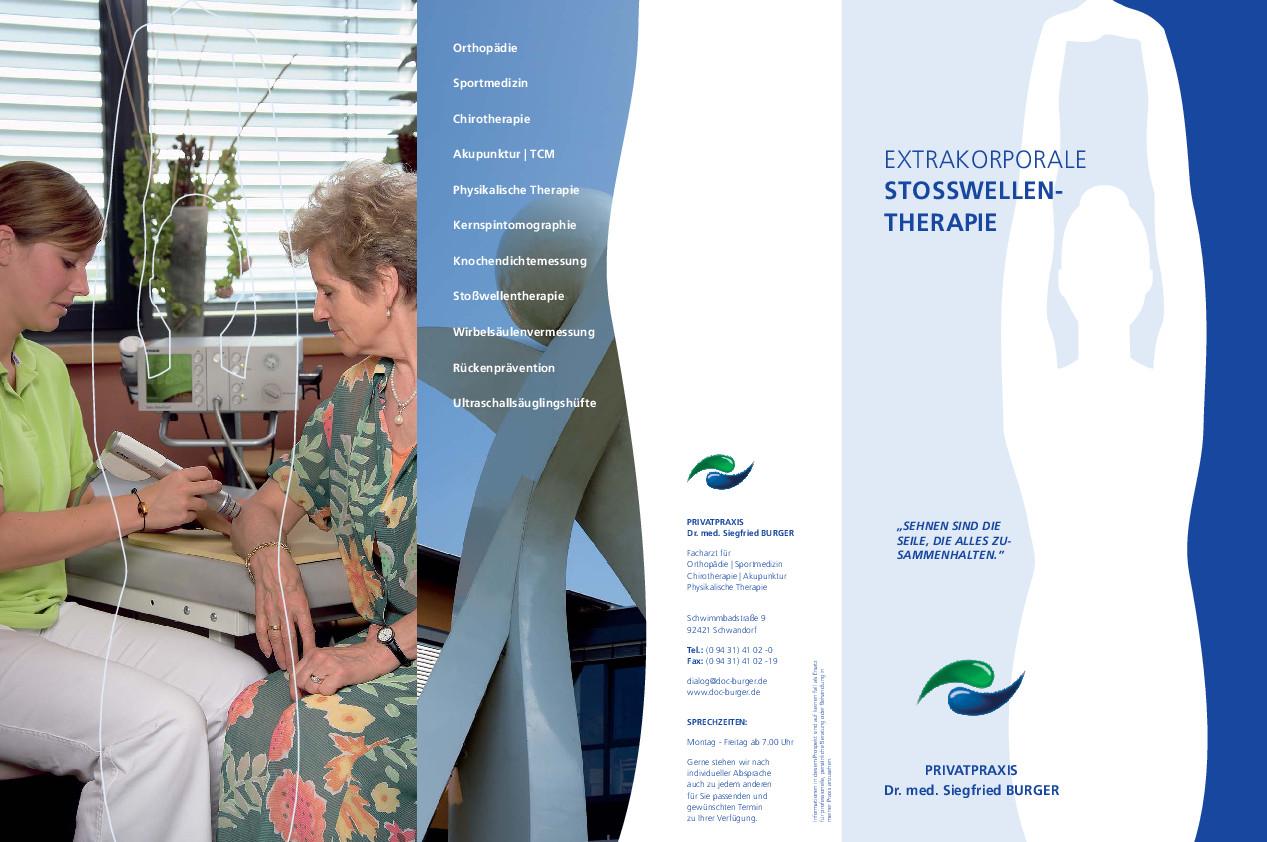 Flyer Stoßwellentherapie Stoßwellentherapie wird bei Erkrankungen des Bewegungsapparates eingesetzt. Viele Operationen können so erfolgreich vermieden werden.
